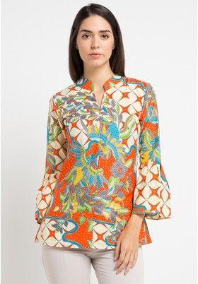 Batik Putra Bengawan Orange Blus Kp Gresia Kw Or Pb
