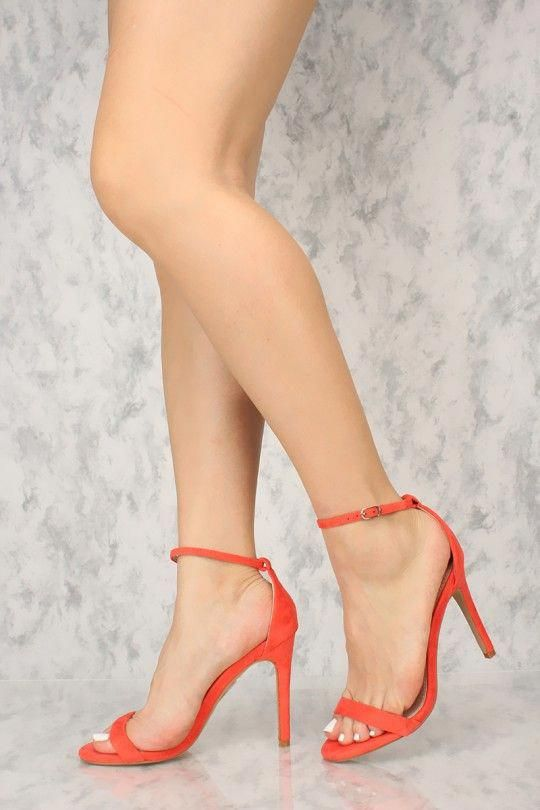 45816cc594d Sexy Coral Open Toe Single Sole High Heels Faux Suede  Shoeshighheels