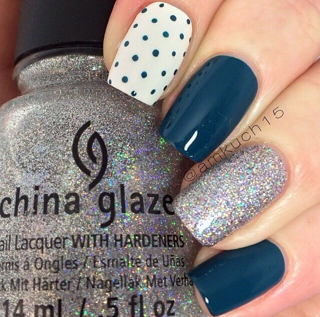 Mix and match mani. Blue and glitter nails. Polka dote. Nail art ...
