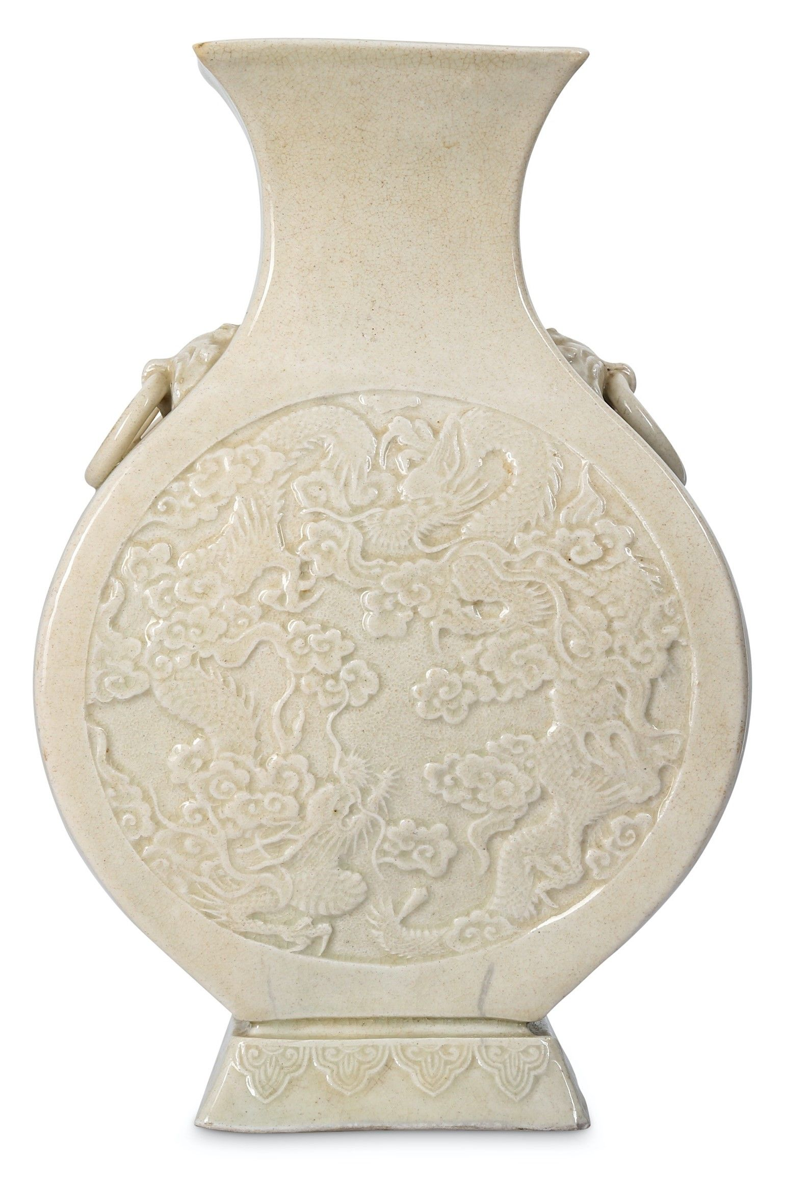 Cream-glazed Dragon Vase Hu | China - 19th Century | #dragon #dragons #art #antique #ceramic #ware #Jingdezhen #stoneware #porcelain #pottery #auction #history #poterie #céramique #sculpture #celadon #antiquité #brocante #stoneware #museum #sancai #nankin #dynasty #tang #ming #song #tong #yuan #Qianlong #qing #Cizhou #meiping #imperial #period #chine #drachen #drache #drago #Japan #meiji #satsuma #Shenlong #Tianlong #Qiulong #Panlong #longshan #ryū #龍 #竜 #龙