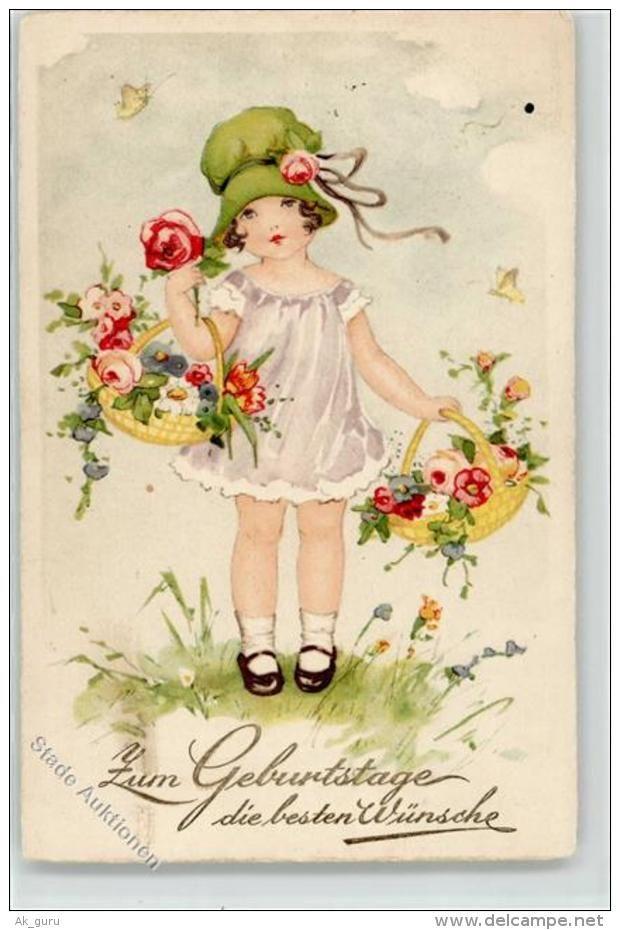 51620647 - Geburtstag Hutmode Blumen Korb Glueckwunsch Kinder Sign.