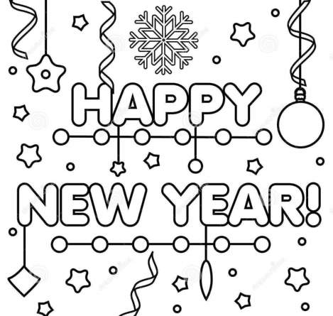 Happy New Year 2021 Drawings New Year Coloring Pages Happy New Year Text Happy New Year
