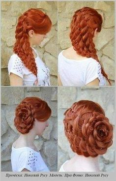 Victorian hairstyles instructions google search wedding flower made out of braids see all you do is make a braid then you roll it up and pin ccuart Image collections