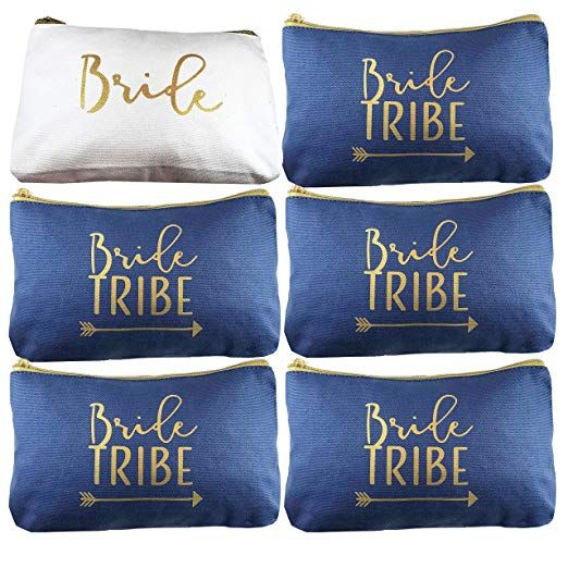Navy Blue Bride Tribe Canvas Cosmetic Makeup