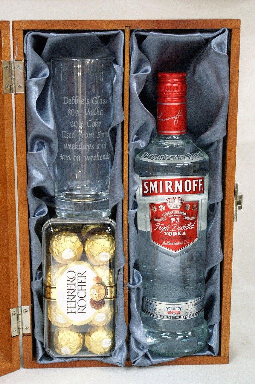 Engraved Hi Ball Glass & Smirnoff Vodka 70cl Gift Set in Wooden Gift Box