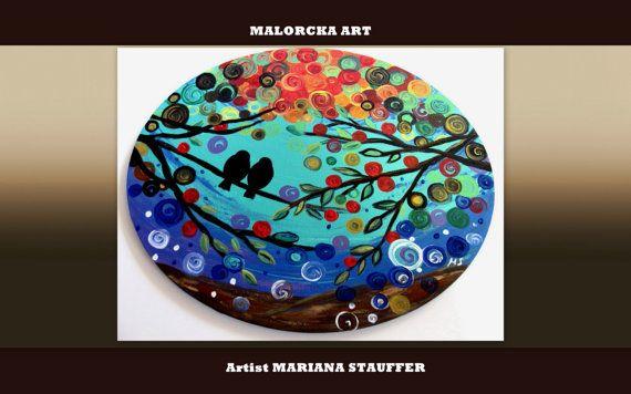 bird tree painting acrylic BLUE SKIES artist Mariana by malorcka, $99.00