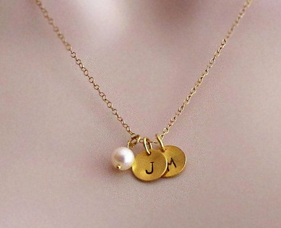 Personalized Two 24 K Vermeil Gold Disk Charms Freshwater pearl Necklace - Custom handstamped charm pendant - Freshwater pearl necklace. $31.99, via Etsy.