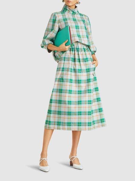 Clothing By Baking It In An Oven By Issey Miyake: Hani Plaid Cotton-Blend Skirt