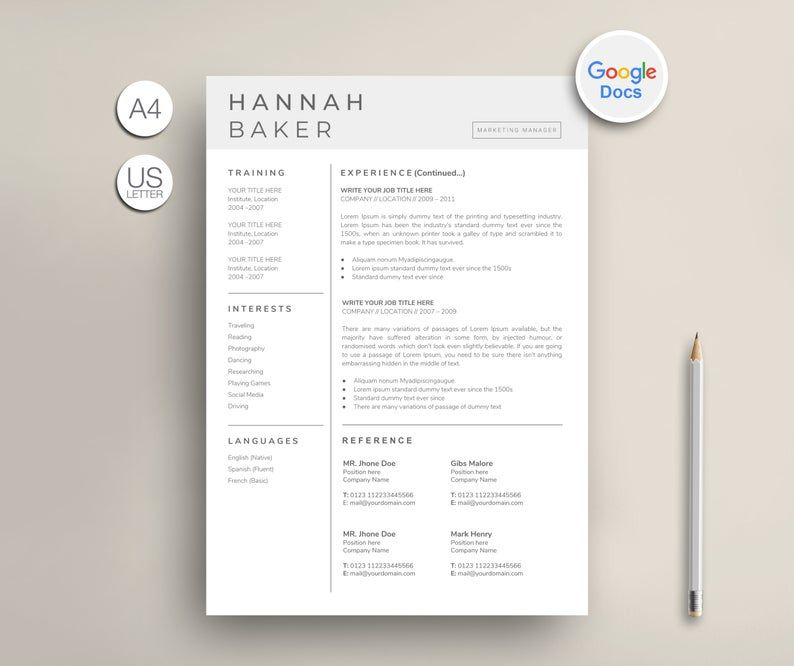 Google Docs Resume Template Google Cv Template Modern Google Etsy In 2020 Resume Template Cv Template Template Google