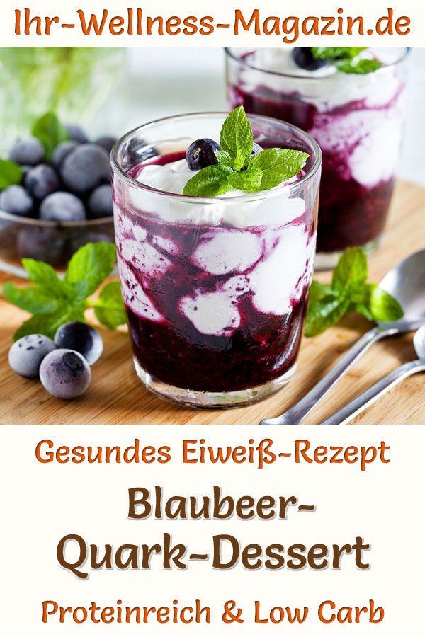 Schnelles Blaubeer-Quark-Dessert im Glas - Low-Carb-Eiweiß-Rezept