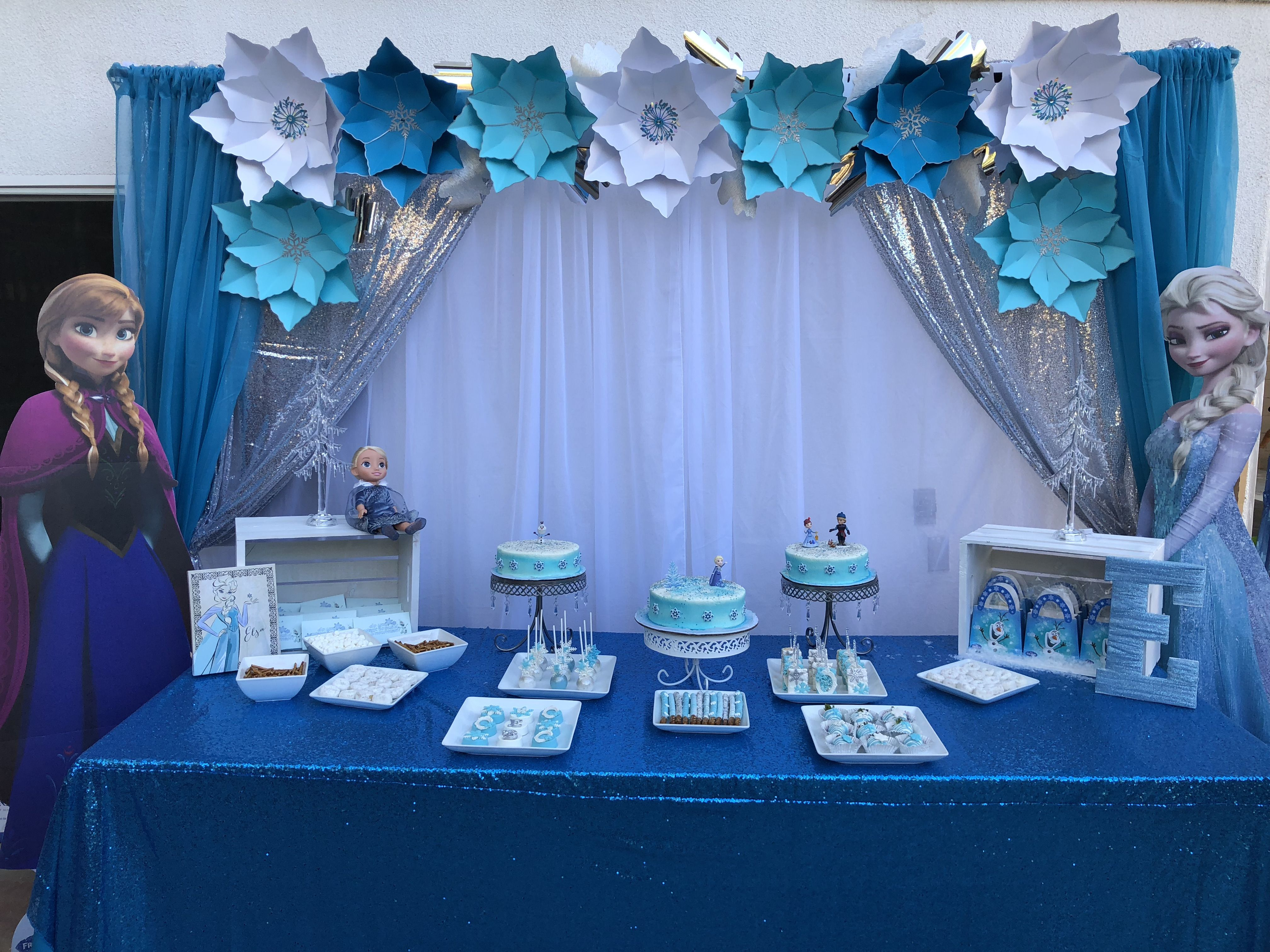 Frozen Dessert Table Set Up By Lalaspartycreations5 Frozen Party Decorations Frozen Dessert Table Frozen Candy Table