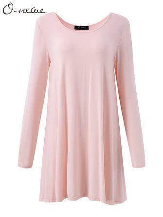 #Banggood О-Newe сексуальные женщины краткий чистый цвет длинный рукав модальных хлопок платье топ (1089220) #SuperDeals