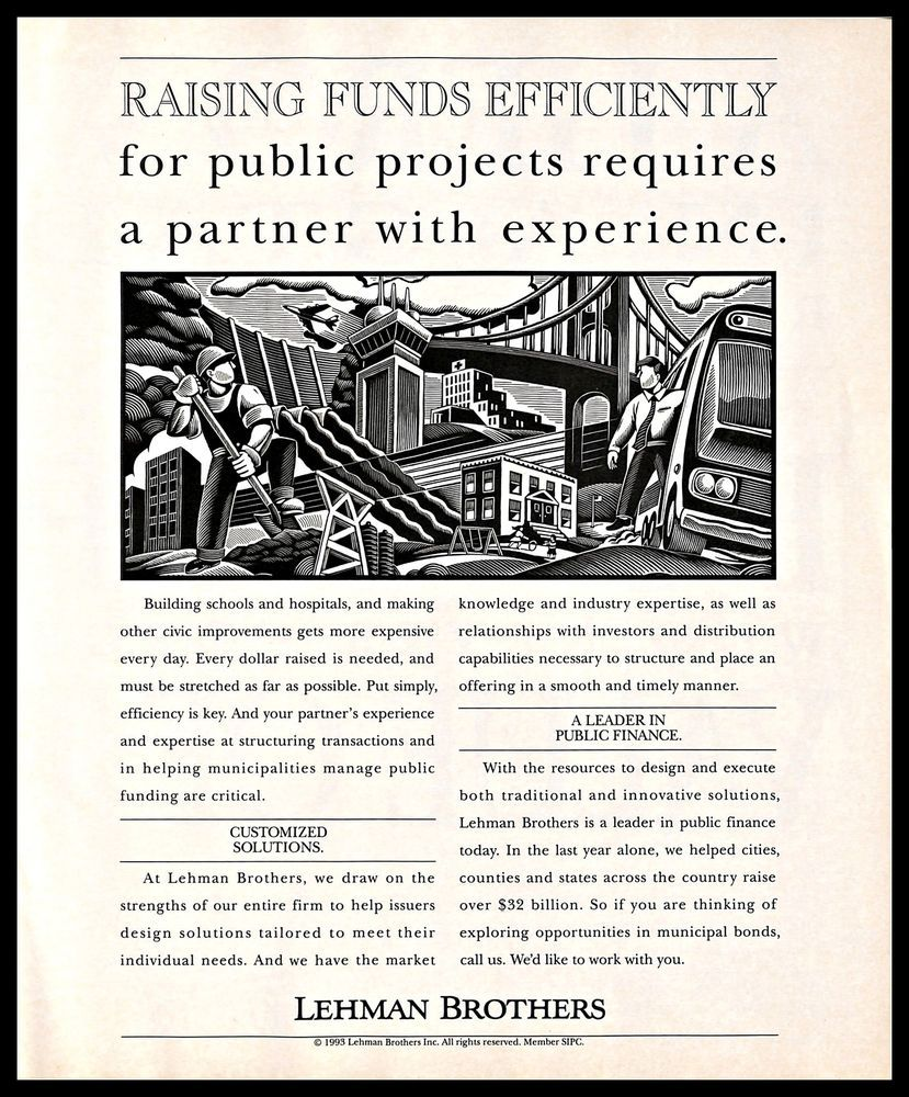 1993 Lehmanbrothers Vintage Print Ad Financialservices Industry Investment B W Financial Services Print Ads Investing