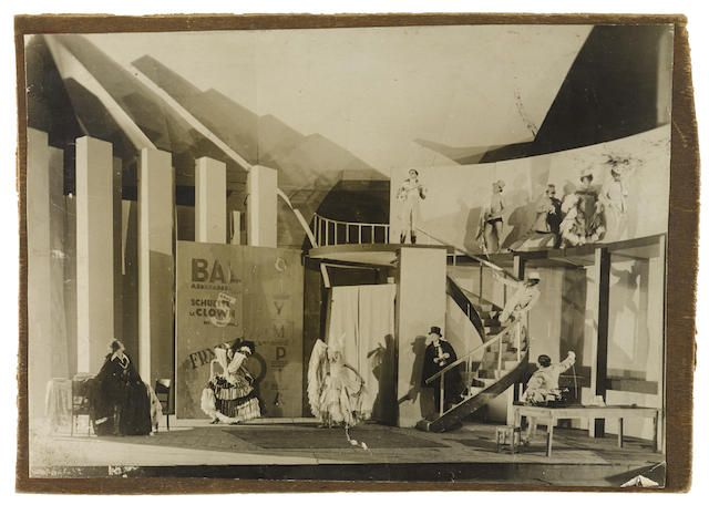 MEYERHOLD SET DESIGNS AND PRODUCTION PHOTOGRAPHS. A collection of 34 period photographs of Meyerhold productions most at the Meyerhold Theater in Moscow. Moscow; 1920s-1930s. <BR />