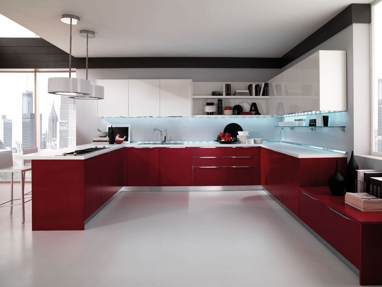 Contemporary Kitchen Lacquered High Gloss Airone Torchetti Cucine Ipc427 High Gloss Kitchen