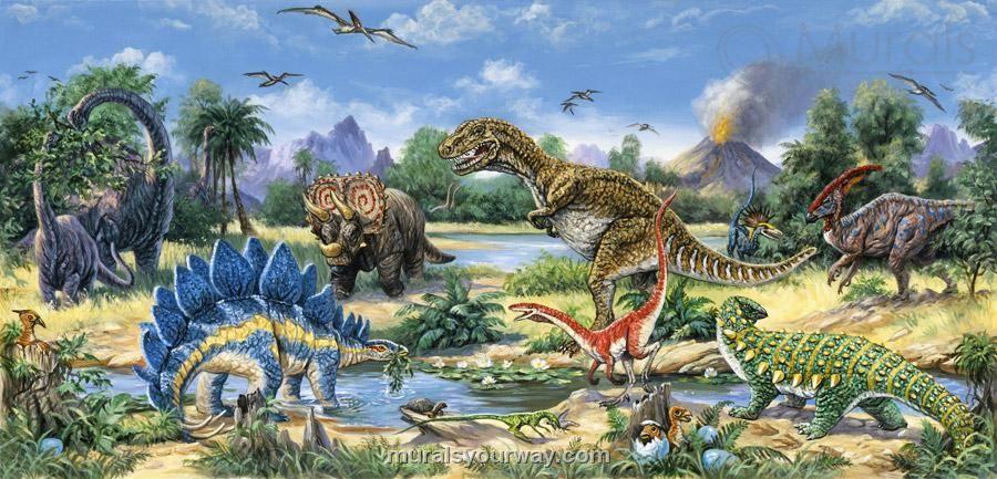 Triassic mural dinosaur murals pinterest for Dinosaur mural wallpaper