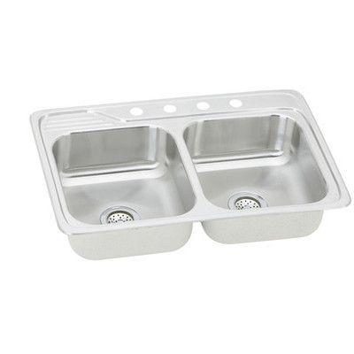 Elkay Gourmet 33 X 22 X 7 5 Top Mount Kitchen Sink Faucet