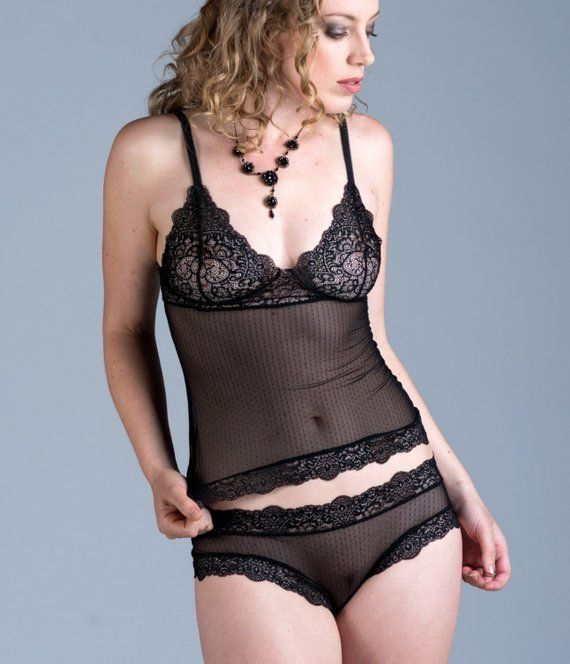 144412ffba Sheer Black Camisole - See Through Mini Dot Micromesh and Lace Custom Fit   Tiger Lily  Style - Women