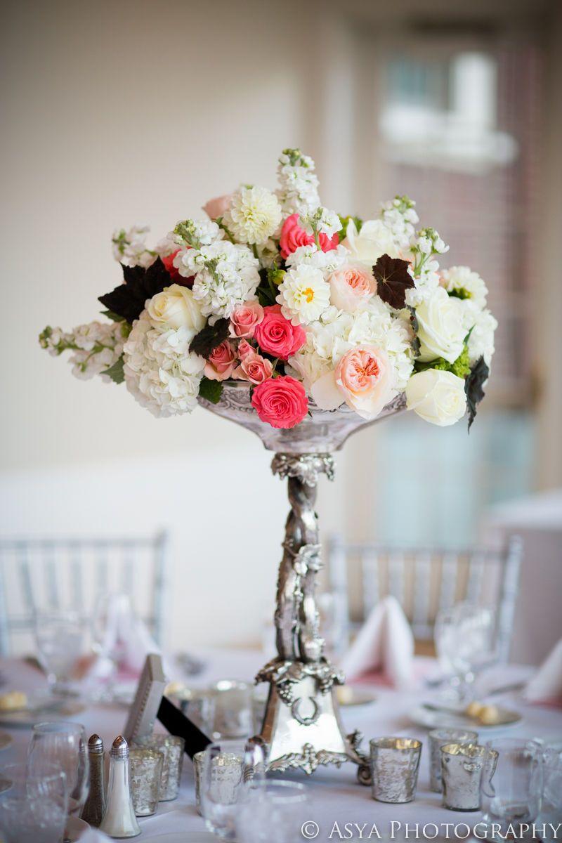 silver pedestal arrangement   Centerpeices   Pinterest ...