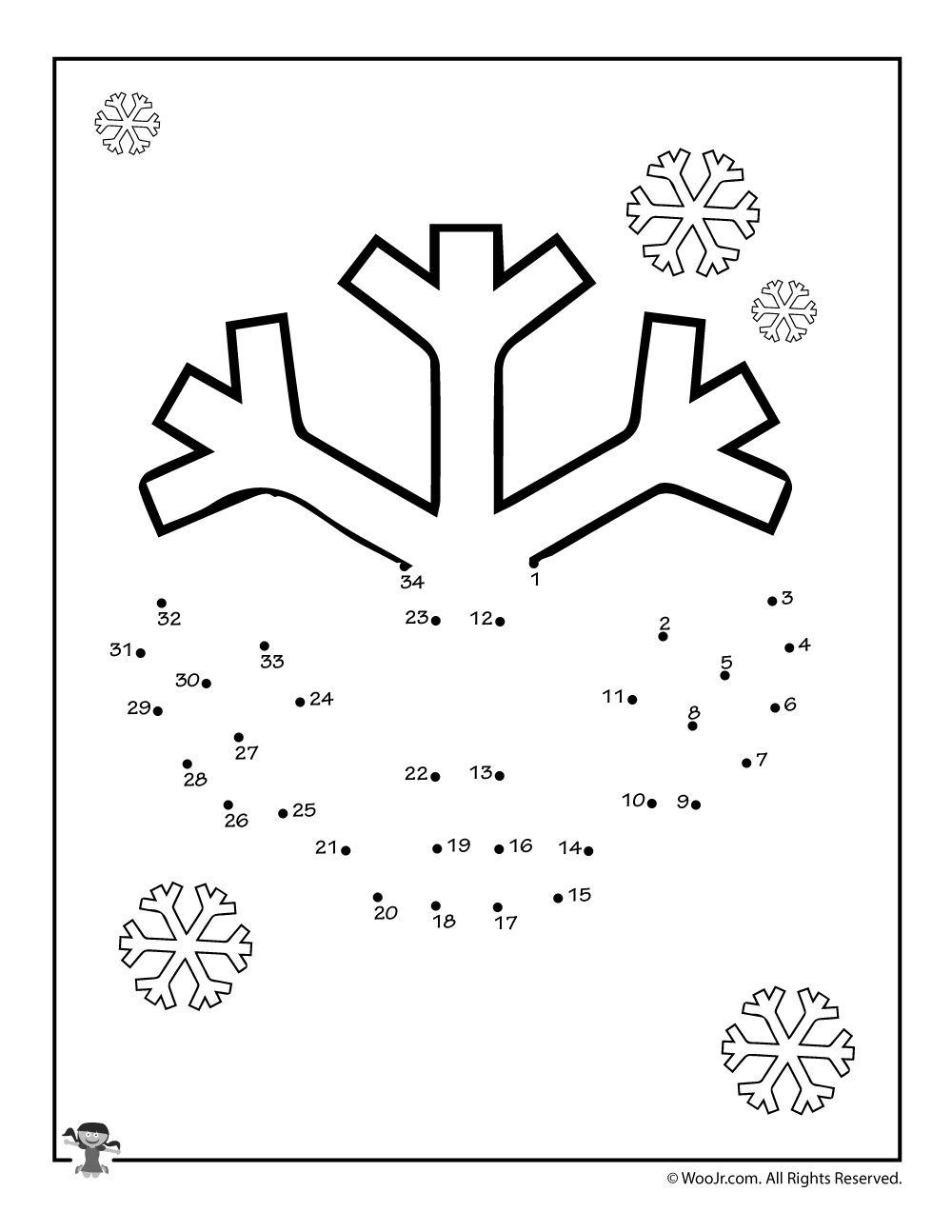 Snowflake Draw A Dot Activities Woo Jr Kids Activities Kindergarten Worksheets Snowflakes Drawing Kindergarten Worksheets Printable [ 1294 x 1000 Pixel ]