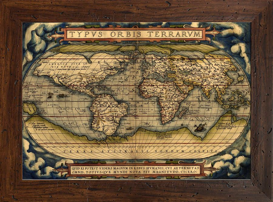 Retro atlas of the first world atlas made by abraham ortelous in retro atlas of the first world atlas made by abraham ortelous in 1570 the reproduction have been produced with high quality print canvas framed with gumiabroncs Gallery