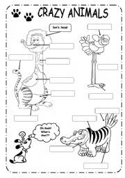English Worksheets: ANIMALS + PARTS OF THE BODY