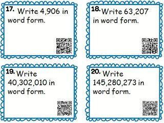 QR Task Cards for Place Value: word form, standard form, expanded ...