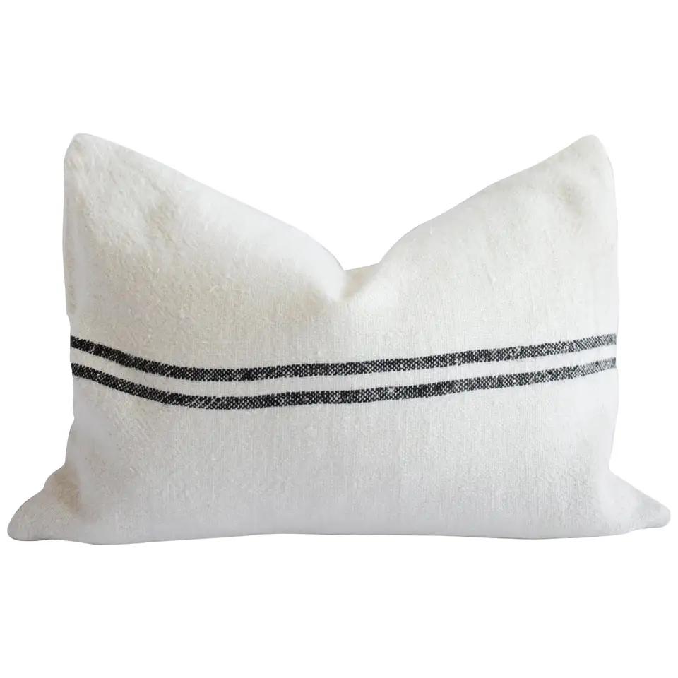 belgian off white linen lumbar pillow