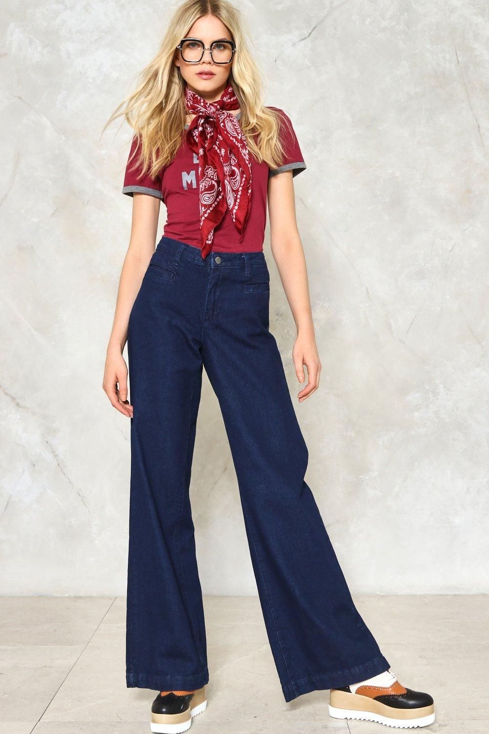 Buy How to wide wear leg denim trousers picture trends