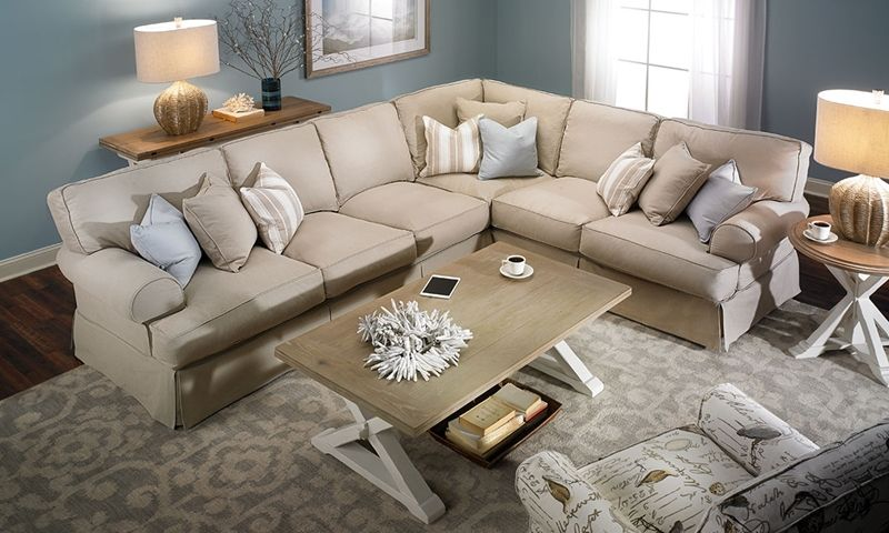 Two Lanes Classic Roll Arm Slipcovered Sectional Sofa Design Sectional Living Room Layout Living Room Furniture Layout