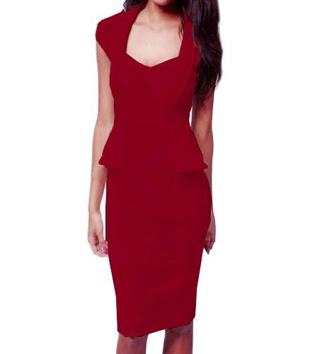 Little Hand Womens Vintage Pinup Flouncing Bodycon Fitted Pencil Dress Red L Little Hand, LOLITA JAPANESE AND VINTAGE FASHION to buy just click on amazon here http://www.amazon.com/dp/B00EXJD51K/ref=cm_sw_r_pi_dp_FF2xsb04DQ5VR12P
