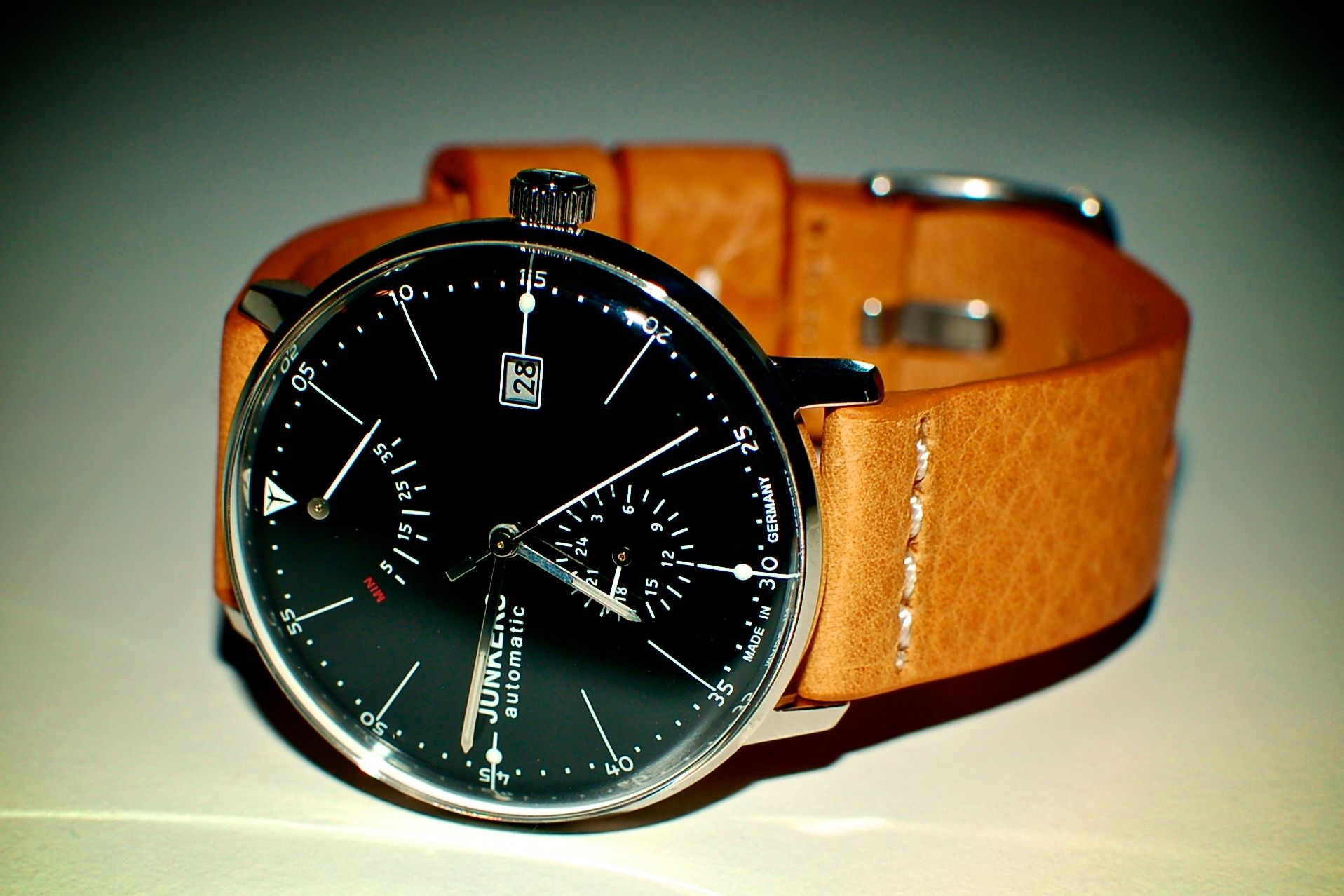 Junkers Bauhaus automatic watch with Meyhofer leather