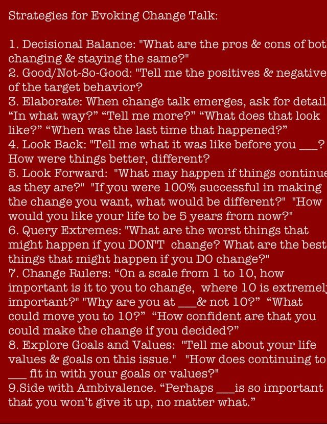 Motivational Interviewing Strategies To Elicit Change Talk | Job Interview  Questions | Pinterest | Motivational Interviewing, Motivational And Change