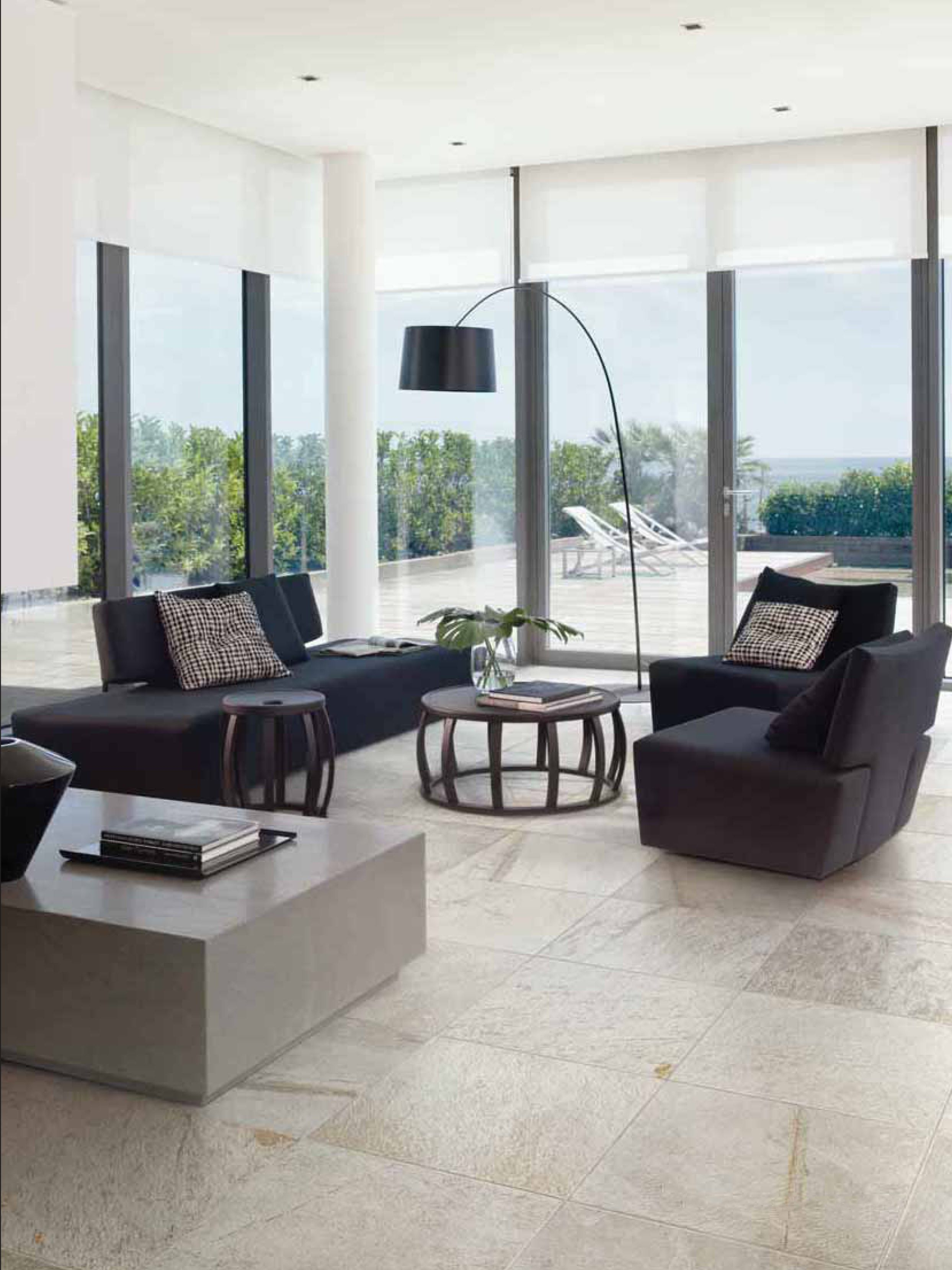 Modern Living Room With White Stone Look Porcelain Tile Modern Furniture Living Room Modern White Living Room Monochrome Living Room #stone #floor #for #living #room