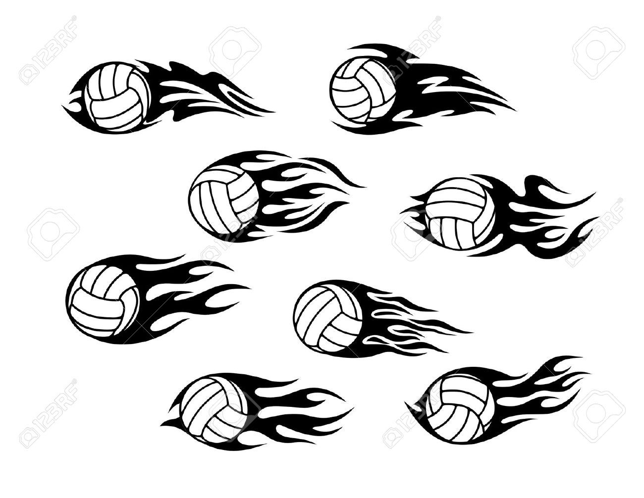 Images For Gt Volleyball On Fire Drawing