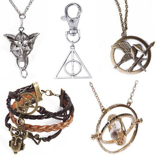 Arwen's necklace, Deathly Hallows keychain, Mockingjay necklace, Time Turner, and Supernatural bracelet for $14.00? THIS IS AMAZING.