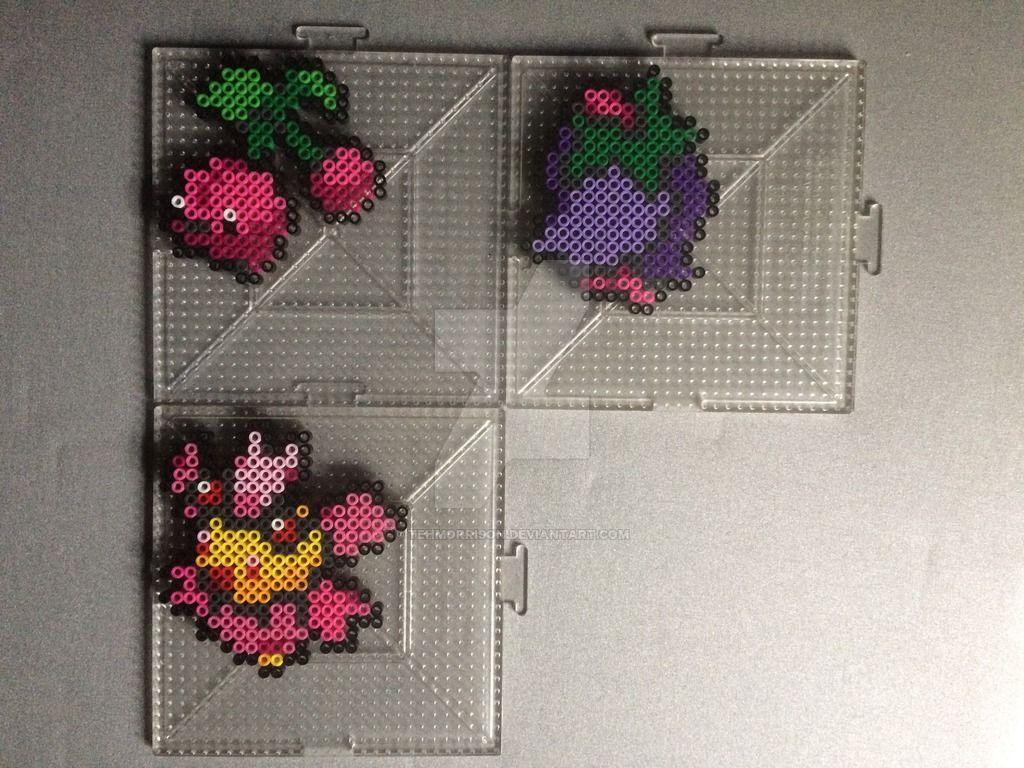 420 421 Cherubi And Cherrim Perlers By Tehmorrison Perler Bead Art Pokemon Bead Pokemon Perler Beads