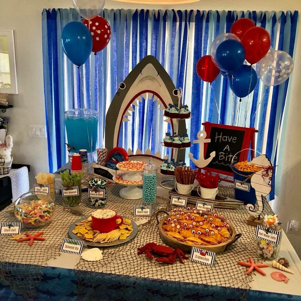 Shark Party Decoration And Food