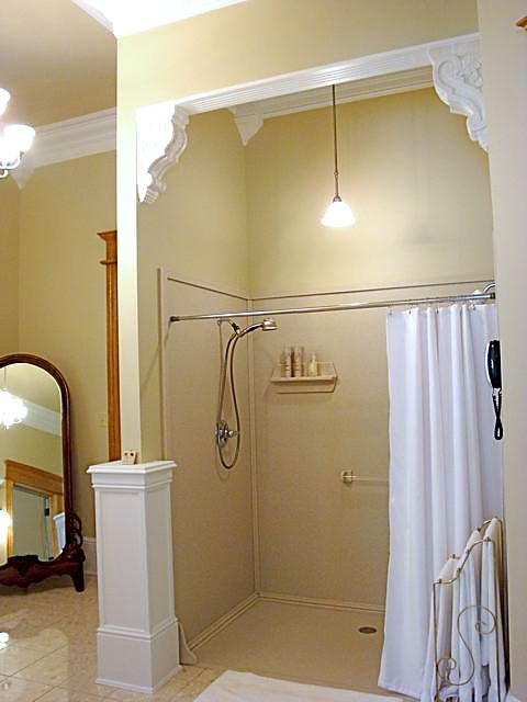 walk in shower with shower curtain over sized shower tub replacement onyx showers marcus. Black Bedroom Furniture Sets. Home Design Ideas