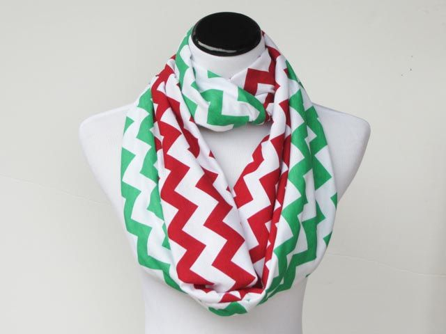 Christmas scarf red green chevron reversible infinity scarf soft jersey knit loop scarf circle scarf - gift for Christmas Holidays infinity scarf loop scarf circle scarf snood scarf jersey knit scarf cotton snood scarf traditional scarf Christmas scarf red green scarf chevron scarf green red chevron photo prop scarf reversible scarf 17.00 USD #goriani