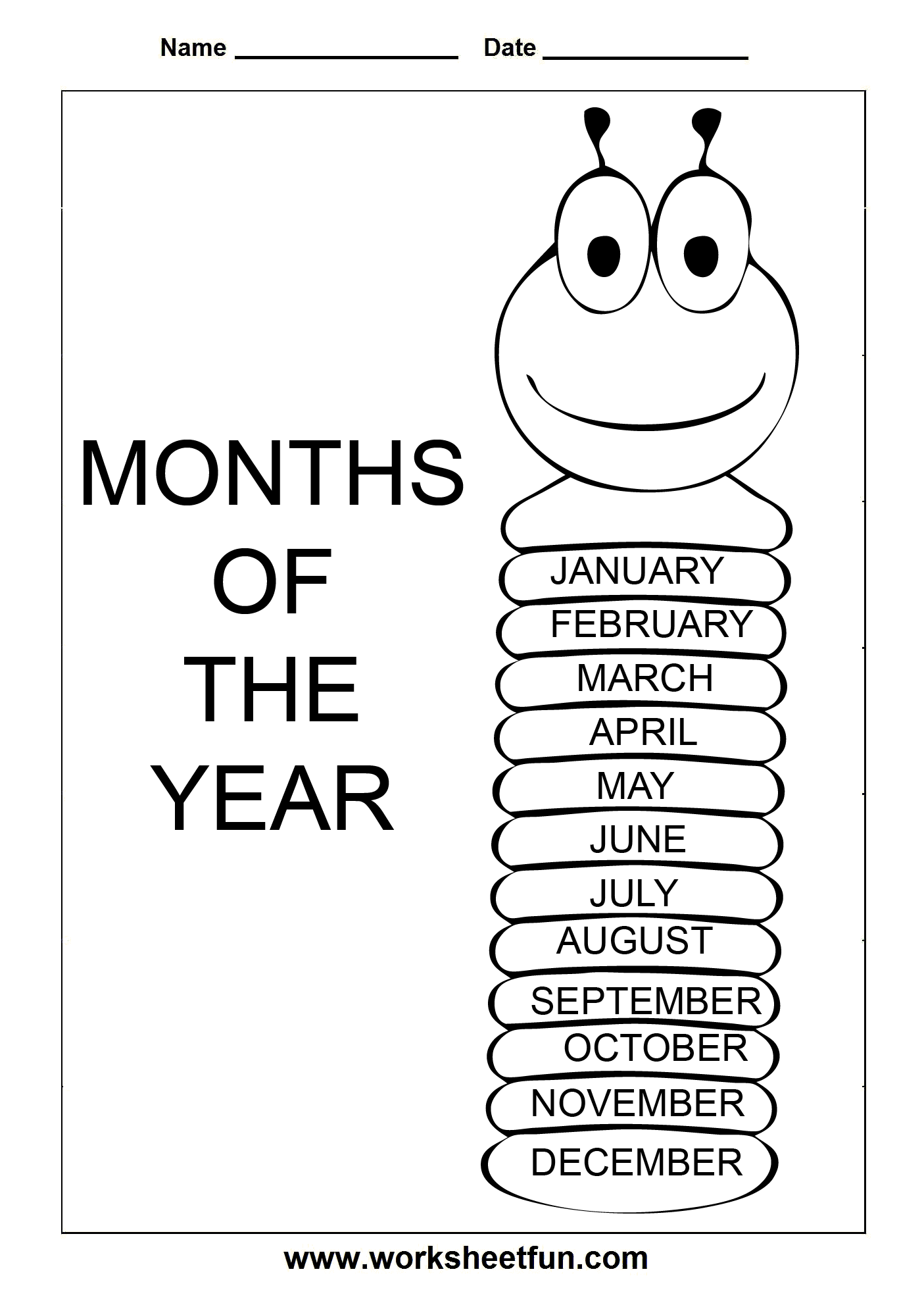 Days Of The Week Months Year Early Academics Worksheets