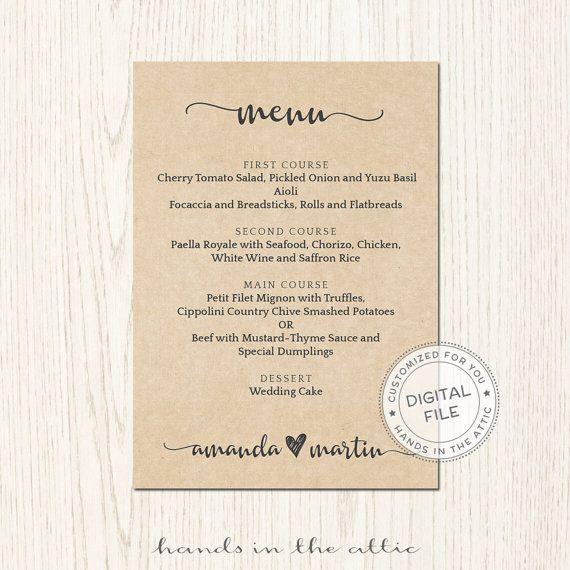 Menu Card Printable Rustic Wedding Reception Lunch Dinner Brunch