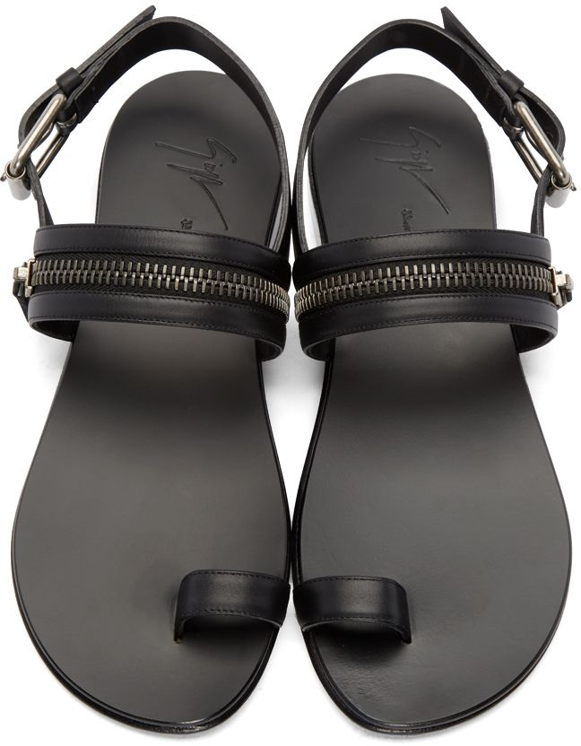 Giuseppe Zanotti  Black Leather Zipper Sandals   SSENSE   Sandals ... a70af58e6b1