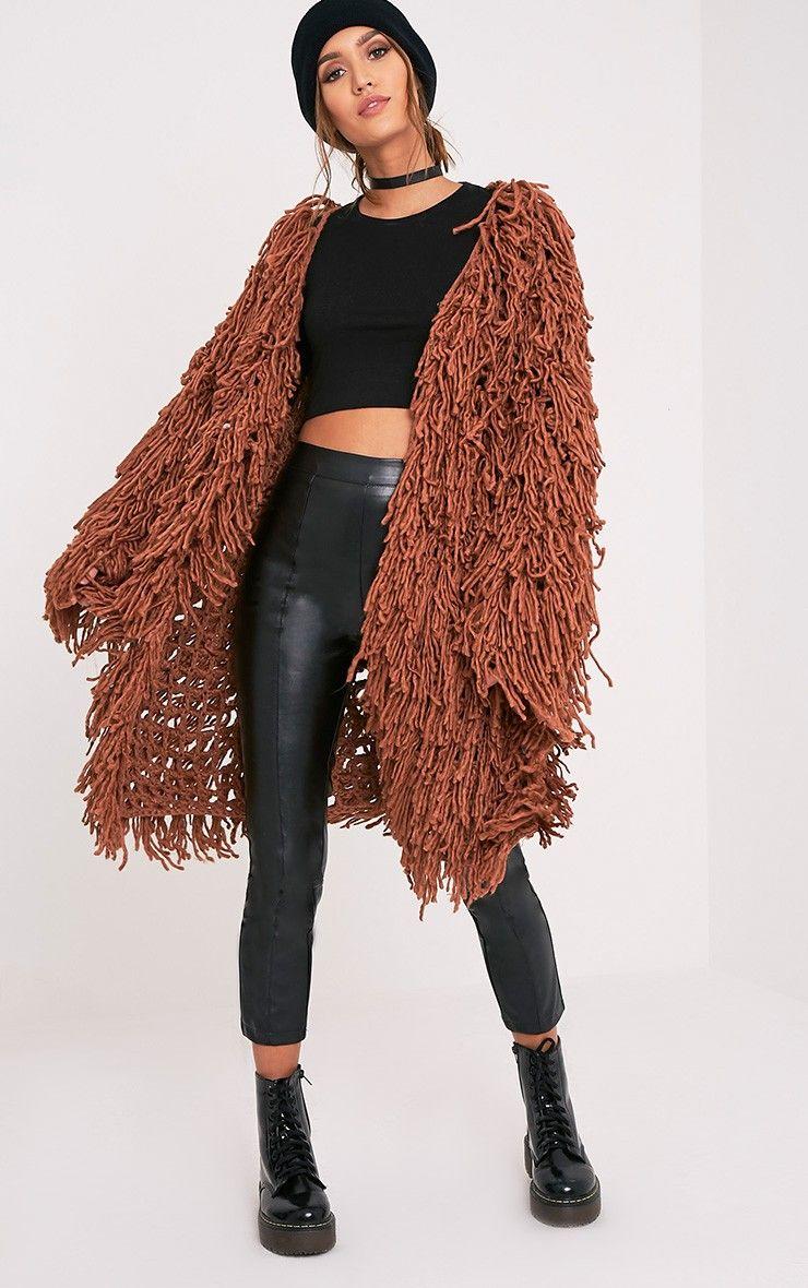 f4fea8bacd7a8 Aslina Cinnamon Shaggy Knit 3 4 Length Cardigan Image 4