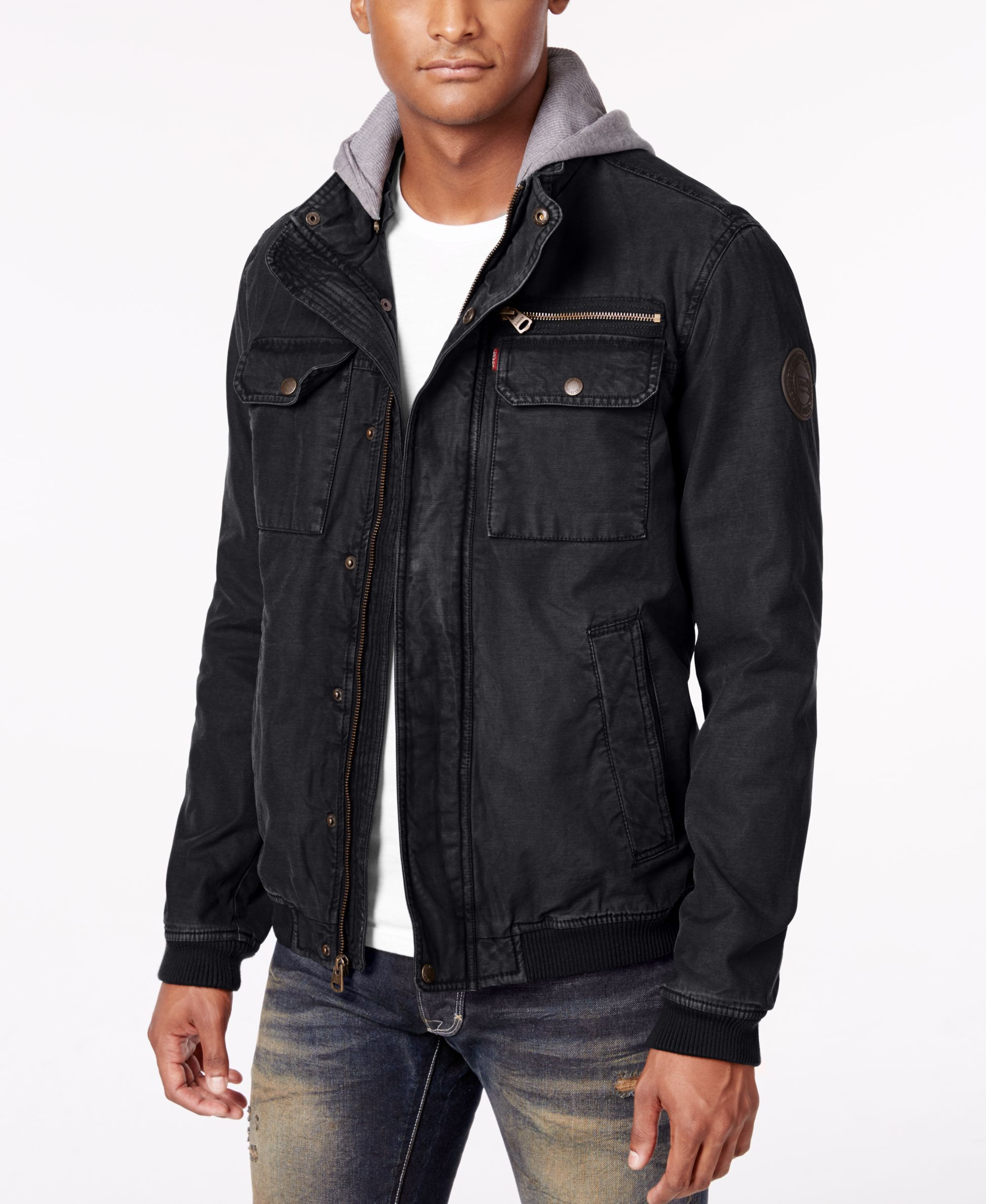 Featuring A Warm Quilted Interior And A Removable Knit Hood This Twill Bomber From Levi S Finishes Hooded Bomber Jacket Jeans Outfit Casual Bomber Jacket Men [ 2378 x 1947 Pixel ]