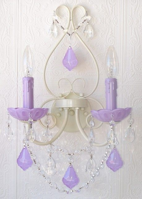 Double Light Wall Sconce With Milky Opal Lavender Crystals Wall Sconce Lighting Wall Sconces Candle Wall Sconces