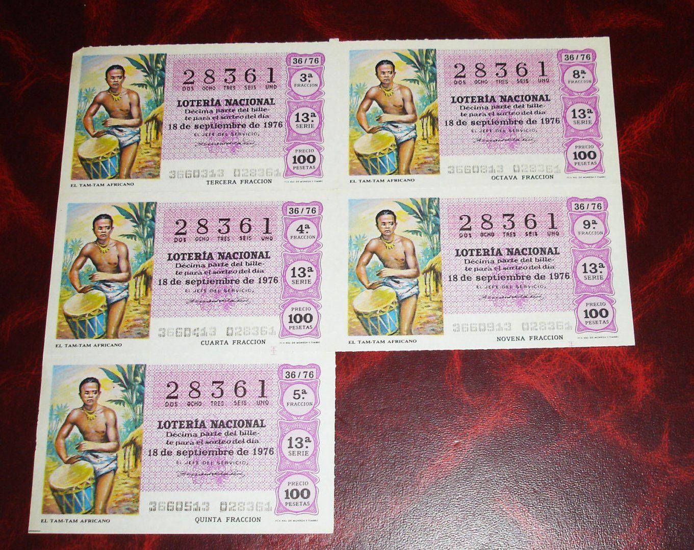 3,00€ · Loteria nacional -el tam tam africano-1976 · año 1976 -el tam tam africano    100 ptas 36/76     bloque de cinco decimos     precio el bloque      GASTOS ENVIO INCLUIDOS  nacional · Aficiones y ocio > Coleccionismo > Loterías