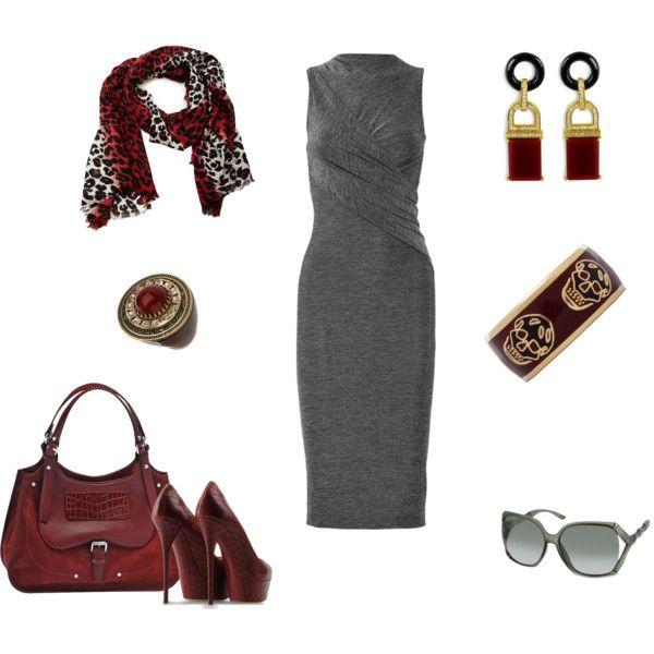 """Red & Grey"" by danasq on Polyvore"