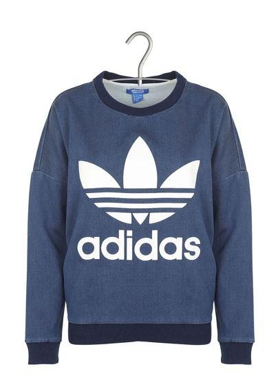 0842b0dc715df E-shop Adidas - Sweat Sérigraphié En Coton Bleu Adidas pour femme sur Place  des tendances Groupe Printemps. Retrouvez toute la collection Adidas pour  femme.