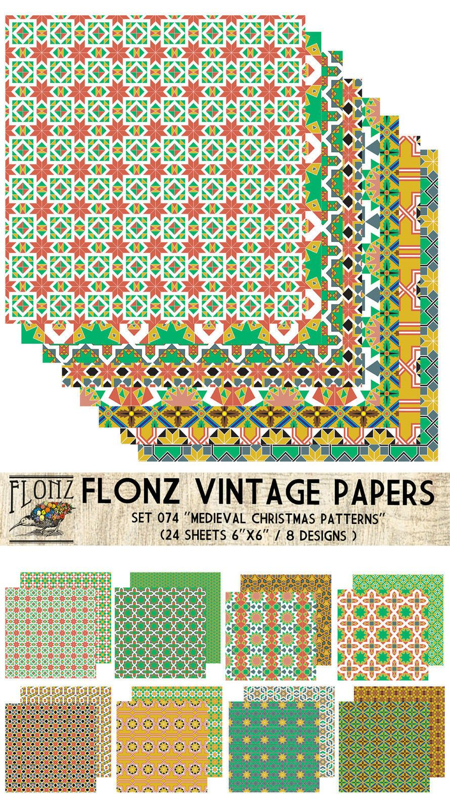 Retro Christmas FLONZ Vintage Paper for Scrapbooking and Craft Paper Pack 24sh 15x15cm